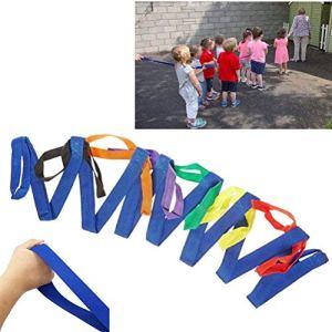 Gobbuy Corde de Course pour Enfants d'âge préscolaire, sécurité des Enfants Boucles de Corde de Course avec poignées colorées, pour Enfants avec poignées colorées, pour crèches et Enseignants