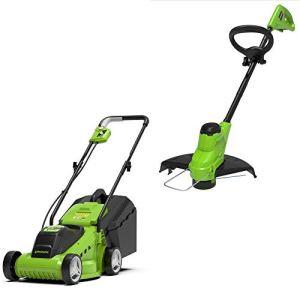 Greenworks Tools Tondeuse à Gazon et Coupe-bordure à Batterie G24LMSTK2 (24 V Li-Ion jusqu'à 250qm² 7000 rpm avancement du fil automatique, batterie 2Ah et chargeur inclus) 33 cm