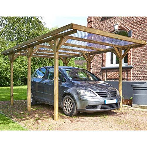 Habitat et jardin – Carport voiture toiture PVC Max – 15.56 m² – 3.04 x 5.12 m