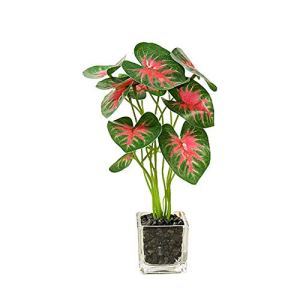 HEELPPO Plantes Artificielles Plantes Succulentes Plantes Vertes Artificielles Plante Artificielle en Pot Plante Artificielle Verte avec ÉVier en Verre Adapté À La RéCeption De Restaurant Green 3