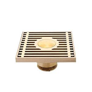 HHORD Drain De Plancher De Douche Carré avec Grille De Couverture Amovible Longue, Acier Inoxydable SUS 304 Fini Bronze Brossé