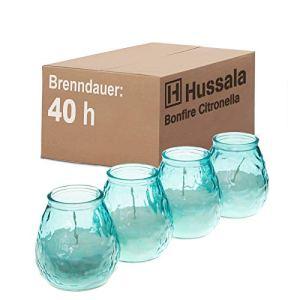 Hussala Bonfire Citronelle Bougies en Verre, Moustique, 40 h – Bleu [4 pièces]