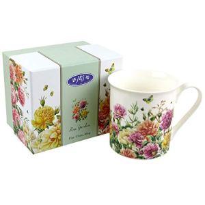 JBS Garden Collection Tasse en porcelaine Motif coquelicot ou rose Rose Garden