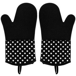 Leesentec Lot de 2 gants de cuisine en silicone résistant à la chaleur Noir