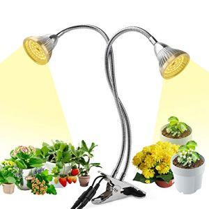 Lumière de plante à LED, 60W LED à spectre complet élèvent la lumière, lampe de culture à double tête à double interrupteur avec 84 LED et col de cygne flexible à 360 ° pour plantes d'intérieur Herbes