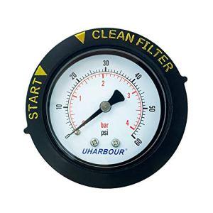 Manomètre UHARBOUR 60 psi, cadran de 5,1 cm avec étui de protection et support central BSPT de 1/4″ – Jauge de pression d'eau pour filtre de piscine, spa et aquarium.