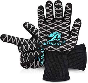 MLMLANT Gants de four extrêmement résistants à la chaleur, gants de barbecue avec doigts de haut jusqu'à 800 °C, gants de gril certifiés EN407 pour barbecue, barbecue, barbecue, cuisson, soudage
