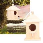 Mxtech Nichoirs en Bois, mangeoire à Oiseaux, nichoir Peint à la Main pour Tout Oiseau pour Animaux de Compagnie Fournitures de Jardin Produits Amoureux des Petits Animaux
