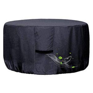 Onlyme Housse ronde pour foyer à gaz 32 pouces Housse de table pour foyer extérieur en tissu Oxford imperméable pour extérieur et intérieur, anti-UV, coupe-vent – Noir (32 x 16 pouces)
