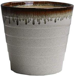 Pots de jardinage Céramiques Pouvoir Flower Lignes Flowing Stand Support de plante avec plateau en plastique Bol Plant Plante Pot d'extérieur Intérieur (Couleur: Café, Taille: M) (Couleur: Café, Taill