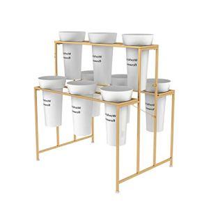 Présentoir en Pot pour Plantes, avec 9 seaux Ronds Noirs, étagère à Fleurs en métal doré de Style européen, présentoir pour Plantes d'intérieur, Support pour Plantes pour décor de Bureau d'hôtel de