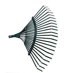 Râteau de jardin à tête large en fil d'acier en forme de balai à 22 dents durable pour pelouse et feuilles de gazon