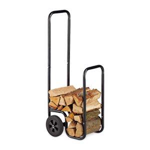 Relaxdays, noir cheminée, Chariot à bois de chauffage en métal, avec 2 roues, jusqu'à 60 kg