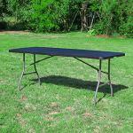 Table Pliante 180 cm d'Appoint Rectangulaire Noire – Table de Camping 8 personnes L180 x l74 x H74cm en HDPE Haute Densité Épaisseur 3,5 cm – Pieds en Acier Pelliculé Gris – Idéal Cérémonies