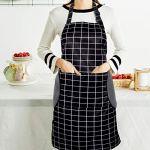Tabliers de Cuisine Etanche,Noir Tablier Réglable avec Poches pour Cuisine Familial,Restaurant,Jardin,Tablier pour Serveurs,Serveuse
