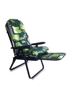 Tecnoweb Coussin de rechange arrondi pour chaise longue avec rallonge extractible Rembourrage épais Couleur de fond vert et fleurs blanches