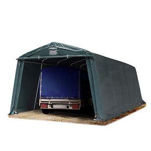 TOOLPORT Abri/Tente Garage Premium 3,3 x 7,7 m pour Voiture et Bateau – Toile PVC env. 500 g/m² imperméable Vert Fonce