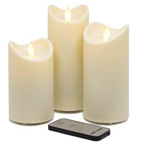 Tronje Lot de 3 bougies LED d'extérieur avec minuterie et télécommande – 13/15/18 cm – Blanc crème – Flamme mobile – Résistant aux UV IP44