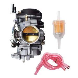 Weiqu Carburateur CV 40 mm Compatible avec Haley-Davidson 27421-99C 27490-04 27465-04 avec jet principal #185 et jet bas #42, pour désherbage de jardin