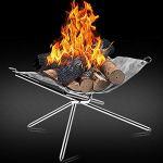 Xyun Cadre de poêle pliable en acier inoxydable avec grille pliable pour camping, cour, Noël