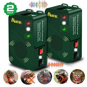 2x appareil à ultrasons mobile avec fonction de lumières stroboscopiques à LED, contrôle de la martre et des rongeurs, chats, chiens, défense des animaux sauvages pour voiture, bus, garage, grenier