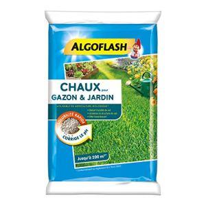 ALGOFLASH Chaux pour Gazon et Jardin, Réduit l'acidité et améliore la structure, Jusqu'à 200 m², 10 kg, ACHAU10