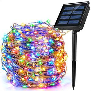 Ankway Guirlande Lumineuse Solaire Extérieur, 200 LED 8 Modes 22M Décoration Lumineuse Solaire Noël IP65 Imperméable Lampe Solaire Exterieur pour Jardin,Balcon,Terrasse, Mariage,Fête (Multicolore)