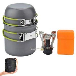 BAIYAN Fournitures extérieures Chaudes Camping Cookware Set Package Pique-Nique Portable extérieure Pique-Nique et empilables et casseroles (Color : Green)