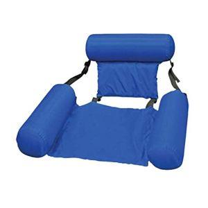 Binghotfire Chaise de Flotteur de Piscine Chaise de hamac d'eau de Piscine de Plage Pliable Pliable d'été (Bleu Ajouter Un Panneau de Mousse)