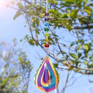 Capteurs de soleil colorés Feng Shui Crystal Suncatchers pour fenêtre avec perle de chakra arc-en-ciel et cristaux de verre de lustre de 14,4 pouces suspendus gouttes pendentifs