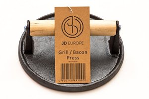 Cast Iron Grill/Bacon Press Round Shape 0.9 kg weight by JD Europe Ltd