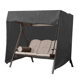 Cheyliszi Housse de siège de jardin 3 places imperméable pour hamac 220 x 125 x 170 cm (Noir)