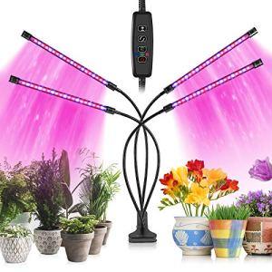 Cultivez des lumières pour Les Plantes d'intérieur, 80 Lampes LED avec Spectre Complet et Spectre Bleu Rouge 10 Niveaux de Gradation et 4 têtes de Croissance Lampe pour semis et Plantes succulentes