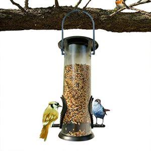 Damaila Mangeoire à oiseaux en plastique rigide suspendu avec cadre en acier