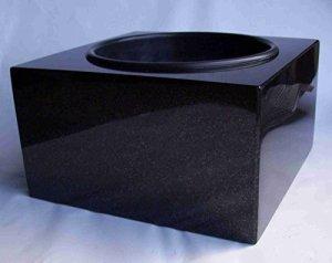 'designgrab «Karree Grab Coque 30x 30cm en granit suédois Black SS1Noir cimetière rigide Pierre Tombale Granit Coque Pot Funéraire Tombe PO2452Vasque