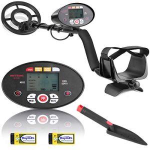 Détecteur de métaux Meterk LCD & 3 Sortes Disc detection & 3 tons & PinPoint Mode, Potence réglable, Bobine de Recherche Étanche, Pelle et piles incluses pour Adultes et Enfants