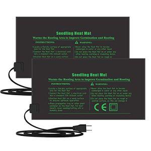 Electronique Tapis Chauffant 24x52cm, coussin de chauffage hydroponique imperméable pour l'usine de reptile de graine avec la protection contre la puissance sûre et durable CE certifié(Paquet de 2)