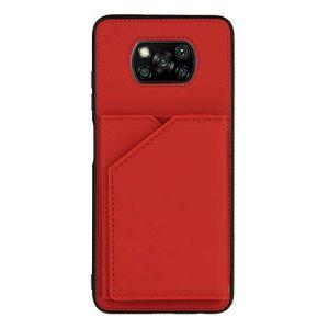 Étui pour téléphone avec Porte-Carte de crédit pour Portefeuille pour Xiaomi Poco X3 NFC (Rouge)
