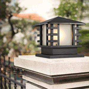FENGLIAN Traditionnelle Place Bureau pilier Lanterns externe en aluminium antipluie Lampadaire Antique E27 étanche IP44 Colonne Lampe Villa Lumière Paysage Pelouse Lumière extérieure Gate Street Light