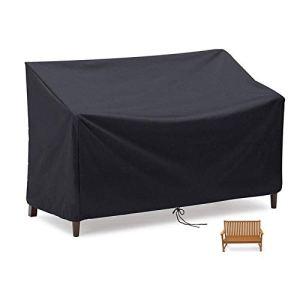 Flymer Housse pour banc 2/3/4 places, imperméable, coupe-vent et indéchirable en tissu Oxford 210D anti-UV, pour banc de terrasse extérieur – Noir (3 places)