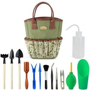 G Good GAIN Kit de plantes grasses avec sac de rangement pour intérieur mini outils de jardinage à main 14 pièces pour jardinage de bonsaï miniature