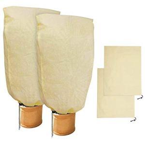 GeeRic 2 Pièces de Protection Hivernale pour Plantes Protection Hivernale pour Sacs de Plantes en Pot, Beige, Solide, 100 x 80 cm