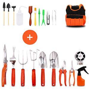 GIOVARA Ensemble d'outils de Jardinage de 22 Pièces avec Sac de Transport Comprenant des Mini-Outils, des Outils de Bonsaï pour Le Soin des Plantes d'intérieur et d'extérieur, Cadeau de Jardin