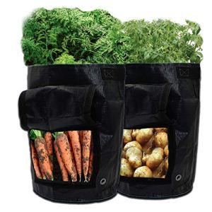 GIOVARA Lot de 2 sacs de culture pour pommes de terre avec rabat et poignées de sangle pour pommes de terre, tomate, carotte, oignon (noir)