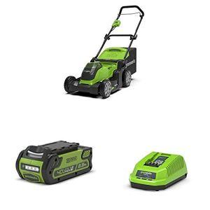Greenworks Tondeuse à Batterie G40LM41 (Li-ION 40V Max. 600m² Surfaces de Tonte 2en1 Mulching 50L bac de ramassage d'herbe réglage de 5 hauteurs de Coupe avec 2 Batteries 2,5Ah et Chargeur)