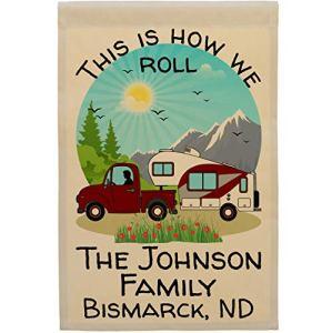 Happy Camper World Affiche de camping personnalisée Inscription This is How We Roll camion et 5ème roue Marron