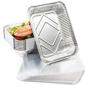 Helet jetables en Feuille d'aluminium Plateaux conteneur avec Un Couvercle,Barquettes Aluminium Accessoire de Barbecue,pour Cuisson,Barbecue, Cuisine Maison,Camping extérieur(1000ML)(10 Pack)