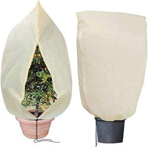 Housse Protection Plantes pour Hiver, Landrip Housse d'hivernage 80 g/m² Protection Antigel Réutilisable et Lavable pour Plantes (180x120CM)