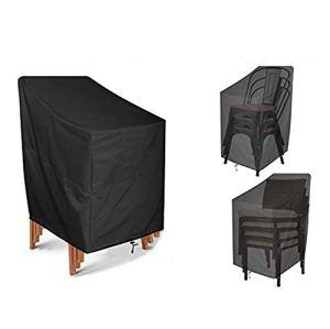 JJCKHE Housse de chaise de patio, robuste à dossier haut, durable et imperméable pour meubles d'extérieur, empilable, pour véranda, salon, housse de protection profonde, noir