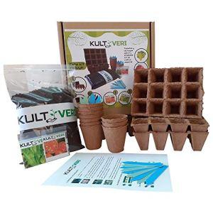 Kit de germination de laitue et de tomate (35 éléments): pots et plaques à semis biodégradables. Créez votre propre potager à la maison.